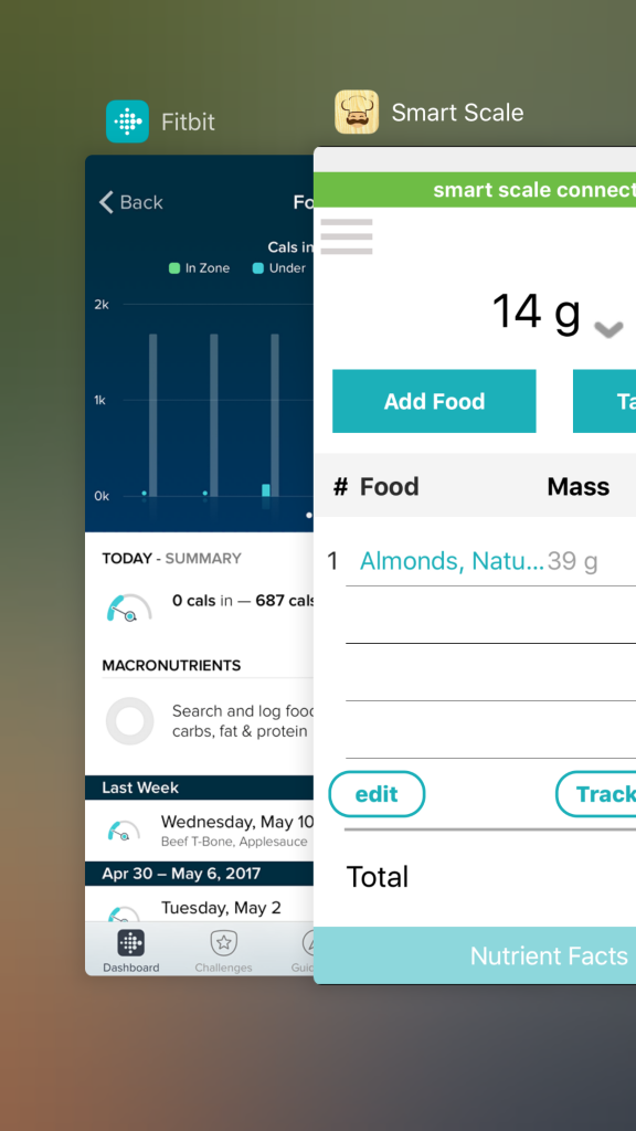 Digital Kitchen Scale food logging to Fitbit