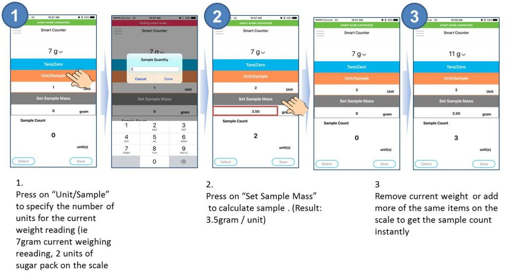 preparing the SmartCounter app with sample mass and start counting