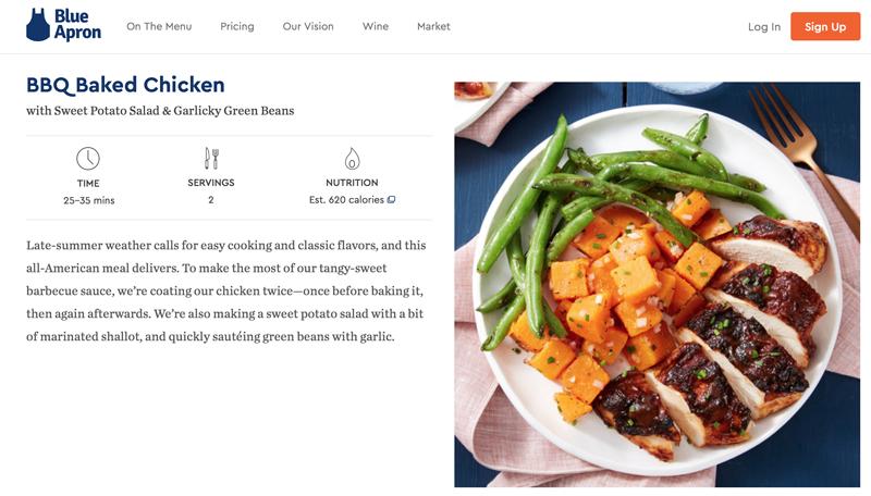 BlueApron BBQ Baked Chicken