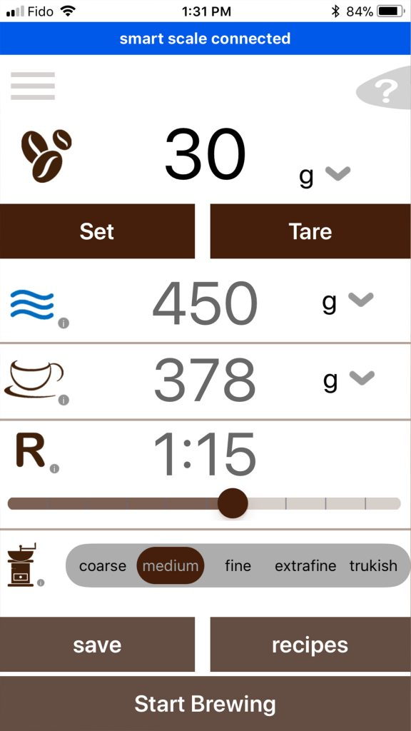 smartcafe app ratio calculator