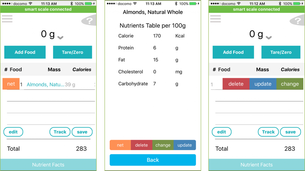 Smart Chef Scale App - Swipe and Press function